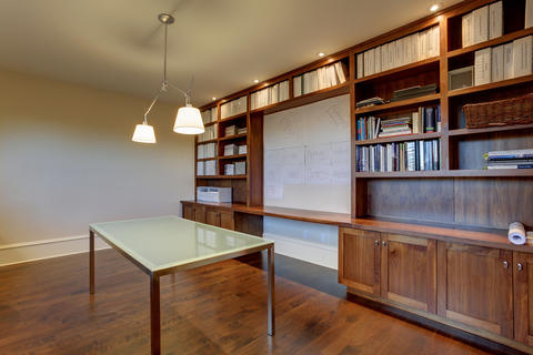 Modern Home Office with shaker style cabinet doors