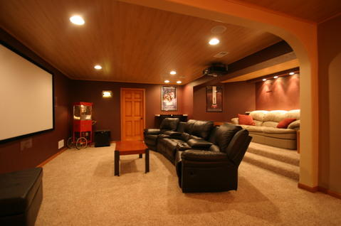 Traditional Home Theater with black leather recliners