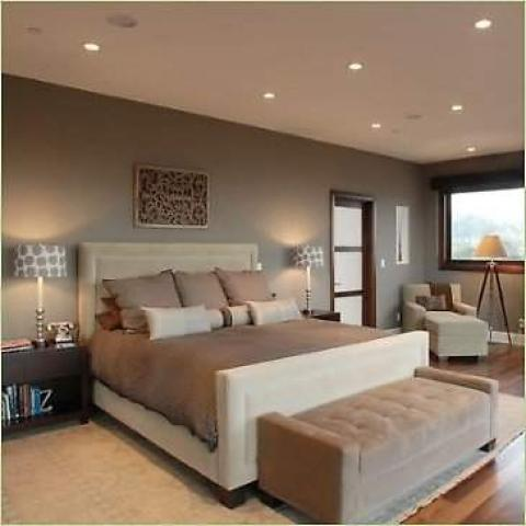 Contemporary Bedroom with gray circle lamp shade