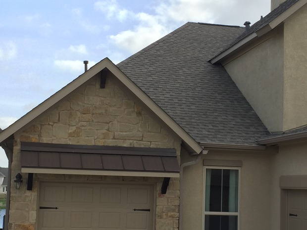 French Country Rooftop In Hutto Stone Siding Metal Roof