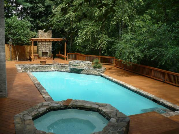 Traditional pool in johns creek medium wood rustic by for Fiberglass doors pros and cons