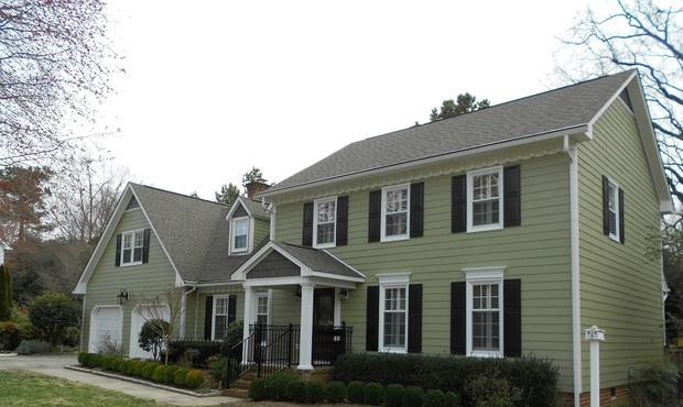 Colonial Home Exterior In Durham White Trim Wrought