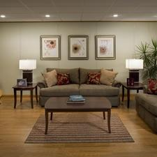 Traditional Basement with matching modern lamps