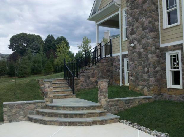 Traditional Patio In Belair Stone Tile Stairs Black