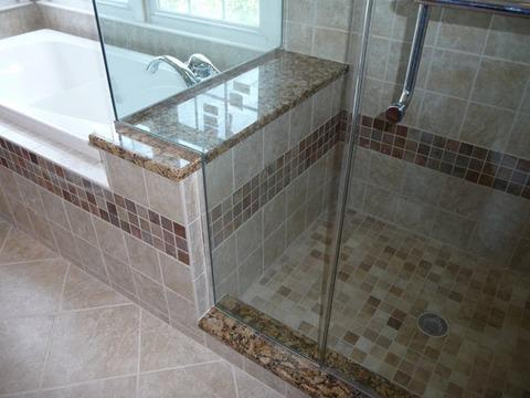 Transitional Bathroom with frameless shower enclosure