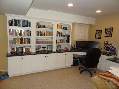 Add To Transitional Home Office With Black Solid Surface Counter