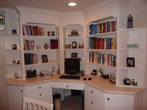 Colonial Home Office with solid surface countertop