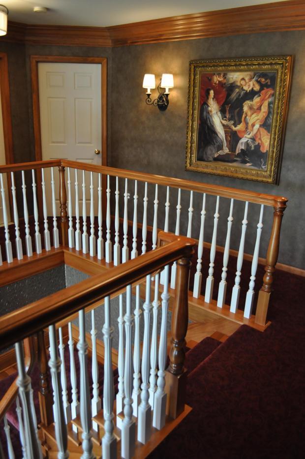 Victorian Staircase In Grand Rapids Purple Carpet Grey