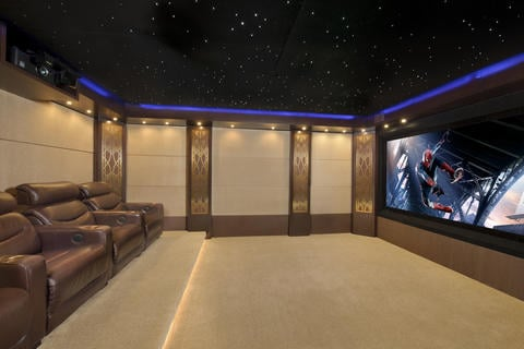 Modern Home Theater with large home theater screen