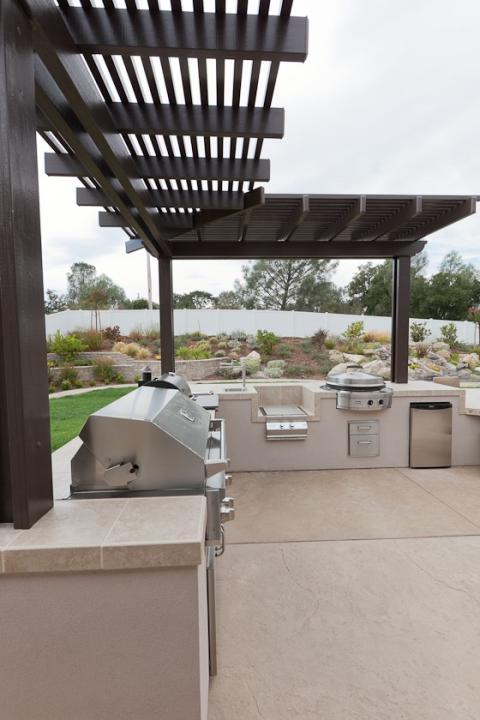 Contemporary Patio with stainless steel outdoor appliances