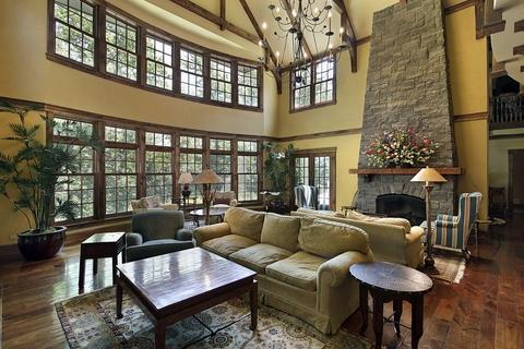 Traditional Family Room with beautiful dark hardwood flooring