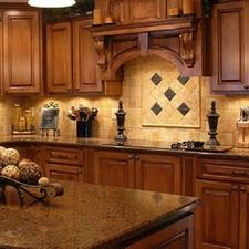 French Country Kitchen with rustic cabinet hardware
