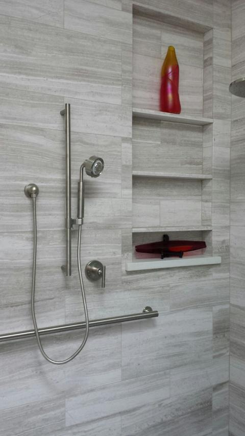 Modern Bathroom with polished silver fixtures