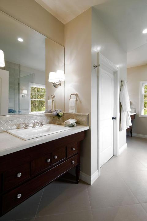 Transitional Bathroom with glass shower stall walls and doors