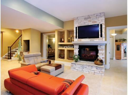 Modern Basement In St Louis Stacked Stone Fireplace