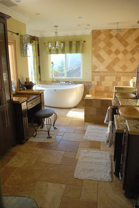 Eclectic Bathroom with large stand alone soaking tub