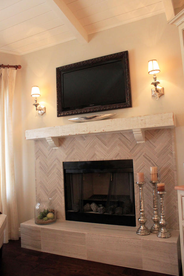 Transitional Fireplace With Gray Tile Surround