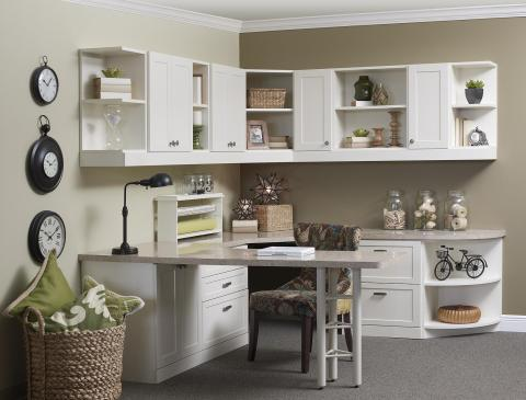 Add To Transitional Home Office With Light Gray Granite Counter Tops