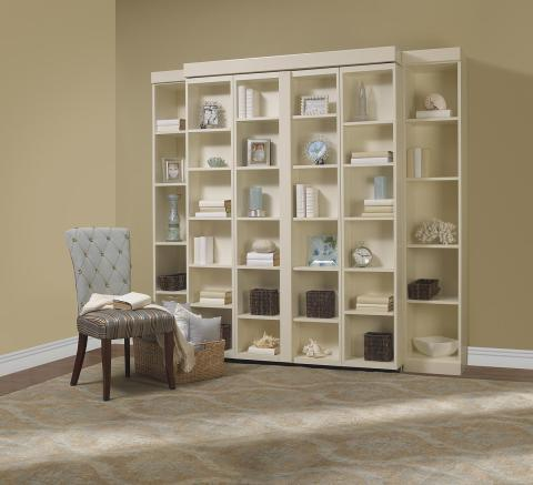 Transitional Home Office with sliding shelves hide bed