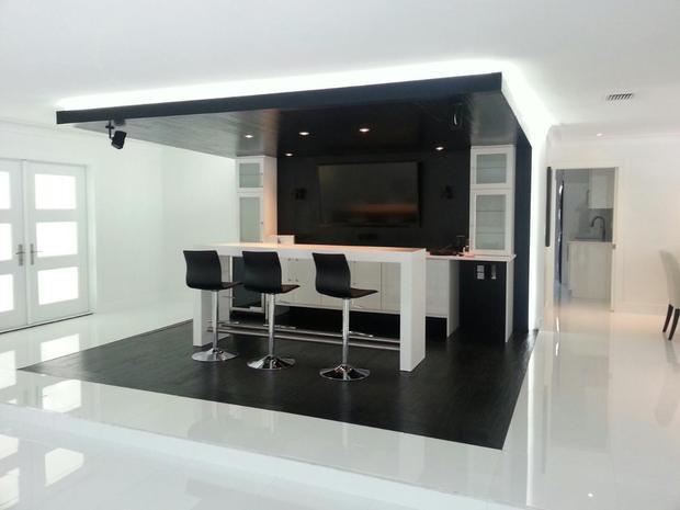 Contemporary Family Room In Pompano Beach Space For Wine