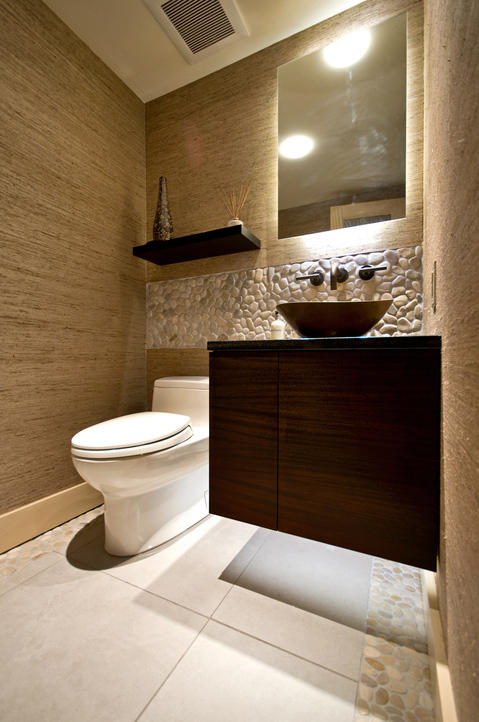 Contemporary Bathroom with oil rubbed bronze faucet