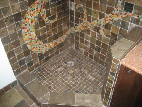 Contemporary Bathroom with multi-color mosaic tile