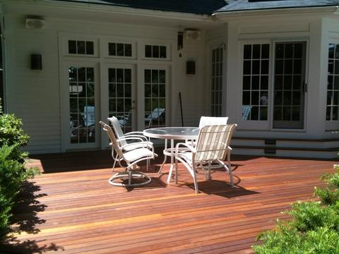 Traditional Deck with prestained mahogany decking