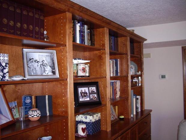 Traditional Den In Albuquerque Wooden Bookcase Movable
