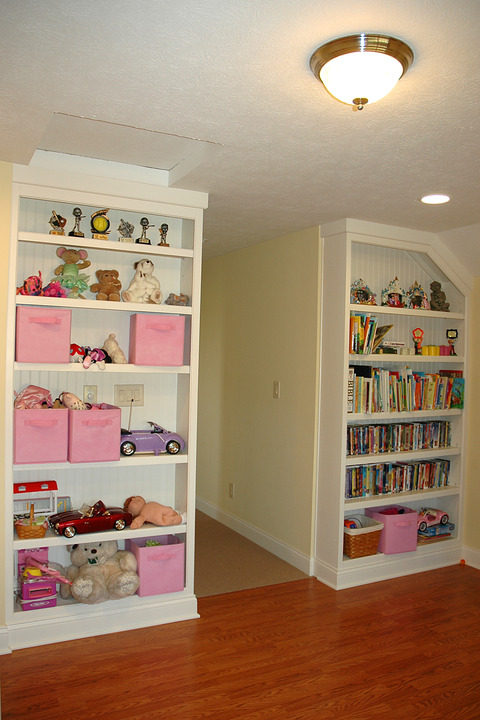 Transitional Kids Room with ceiling mount light fixture