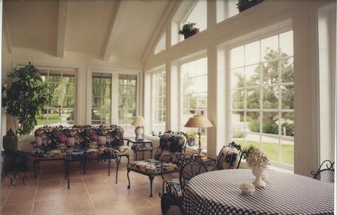Transitional Sunroom with checkerboard tablecloth