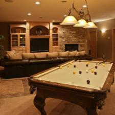 Traditional Basement with custom entertainment center
