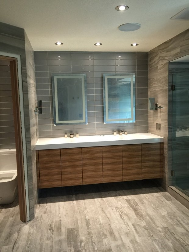 Contemporary Bathroom In Las Vegas Water Fall Faucet Plank Tile Flooring By Home Masters