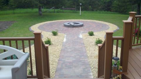 Transitional Landscape with brick paved walkway