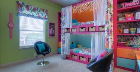 Eclectic Kids Room with light on ceiling of bunk beds