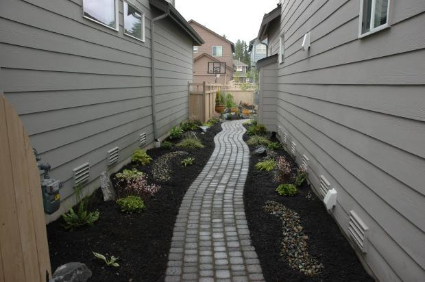 Traditional Walkway In Olympia Light Gray Siding White Framed Windows By Dreamscapes Landscape Design Llc
