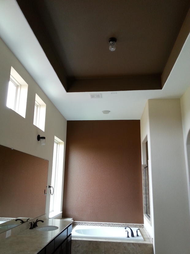 Contemporary bathroom in mckinney over mount tub brown for Bathroom remodel mckinney