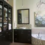 Contemporary Bathroom with black cabinets and drawers