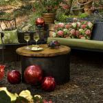 Rustic Patio with lime green cushioned outdoor furniture