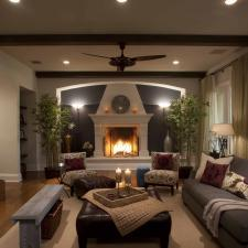 Contemporary Family Room with wrought iron fire place screen