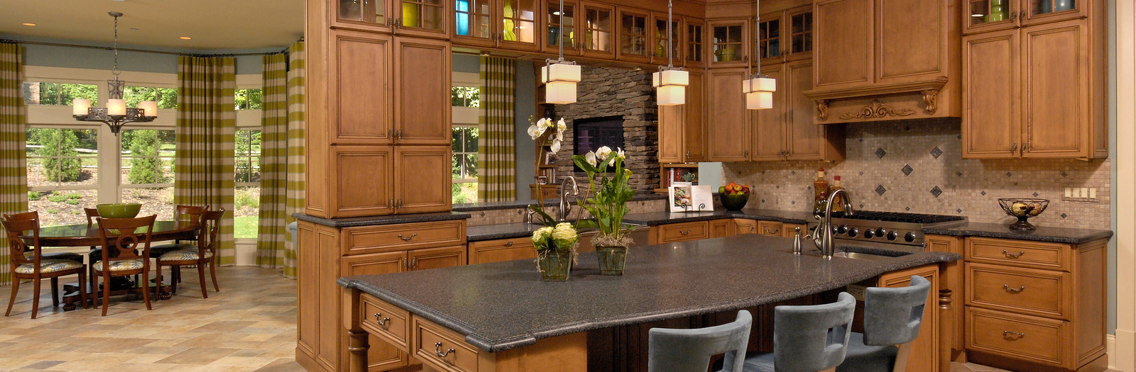 English Country Kitchen with stained wood storage cabinets