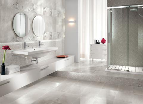 Contemporary Bathroom with wall mounted storage cabinets