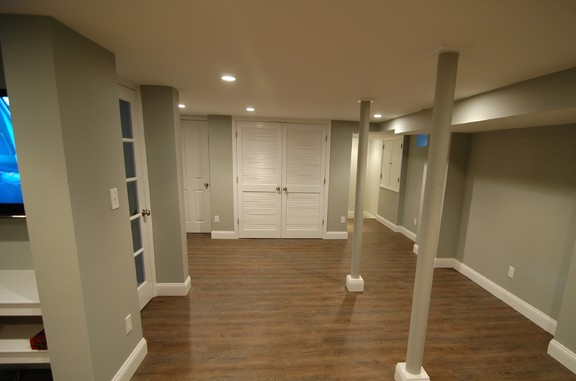 Transitional basement in dobbs ferry gray walls for Basement double door