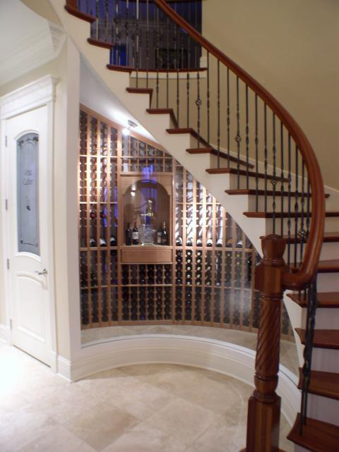 Transitional Wine Cellar with temperature regulated wine storage