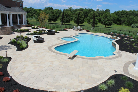 Modern Pool with grey accent tile border