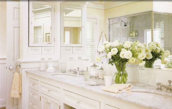 Transitional Bathroom with large vanity mirror