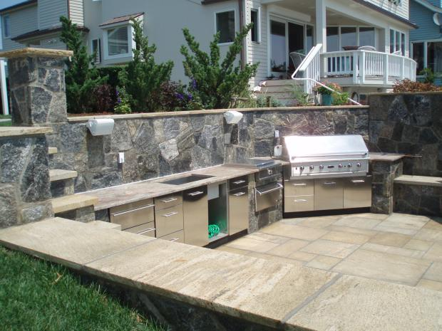 Traditional Outdoor Kitchen In Cheshire Stainless Steel Slab Cabinets Large Outdoor Kitchen