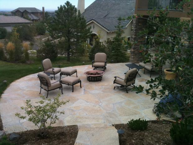 Tuscan Patio with black outdoor patio furniture