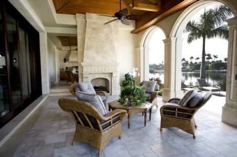 Traditional Patio with wood burning fireplace