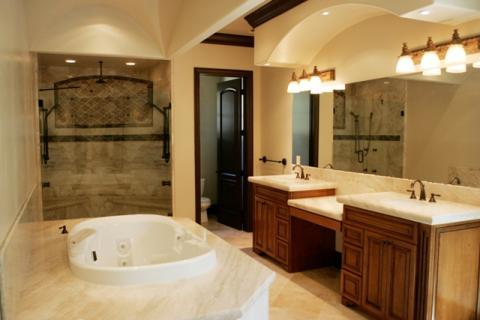 Transitional Master Bathroom with large wall mounted vanity mirror