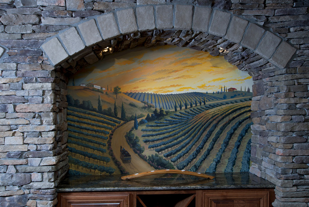 Mediterranean Wine Cellar In Foxfield Granite Countertop